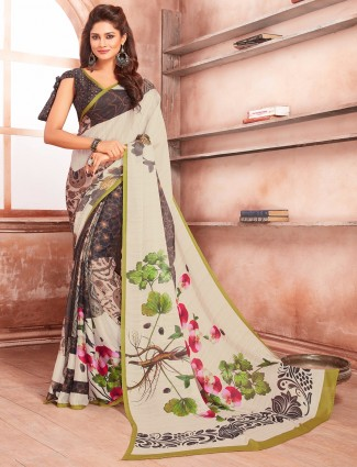 Dark brown georgette saree