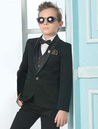 Dark green color terry rayon shawl collar tuxedo suit