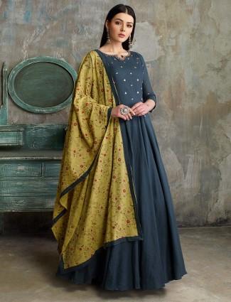 Dark green cotton silk floor length pakistani anarkali salwar suit