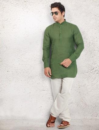 Dark green dressy linen pathani suit