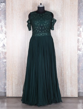 Dark green georgette anarkali suit