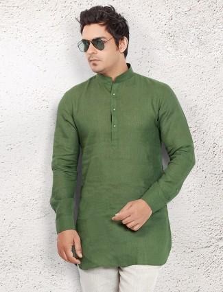Dark green linen short pathani