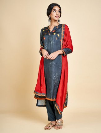 Dark green pant style salwar suit in cotton