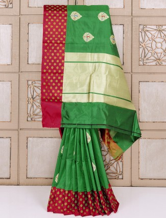 Dark green silk fabric saree for wedding