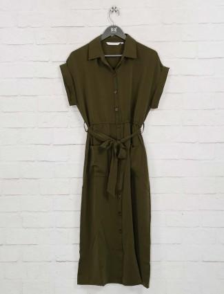 Dark green solid cotton casual dress