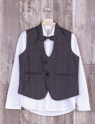 Dark grey and white color waistcoat