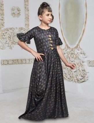 Dark grey color printed gown