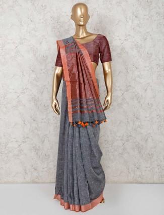 Dark grey linen saree for festive