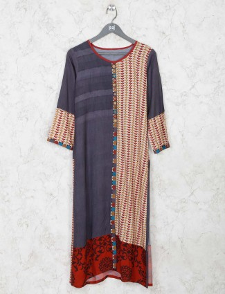 Dark grey cotton festive kurti