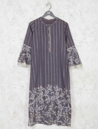 Dark grey cotton kurti for festive look
