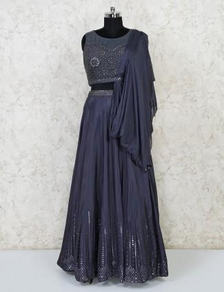 Dark grey cotton silk festive lehenga choli for women