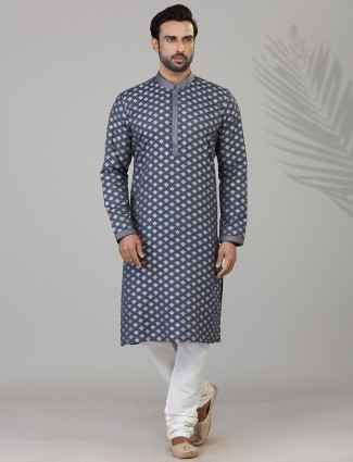 Dark grey cotton silk kurta suit with zari touch