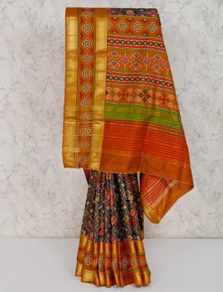Dark grey cotton silk patola printed saree