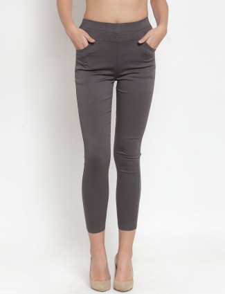 Dark grey cotton solid jeggings