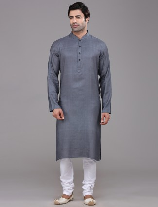 Dark grey festive kurta suit in silk
