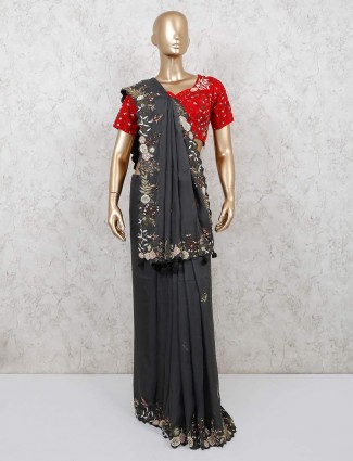 Dark grey georgette saree design with readymade blouse