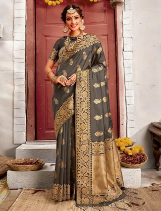 Dark grey handloom banarasi silk saree for reception