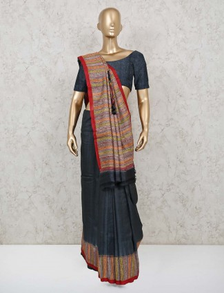 Dark grey handloom cotton festive saree