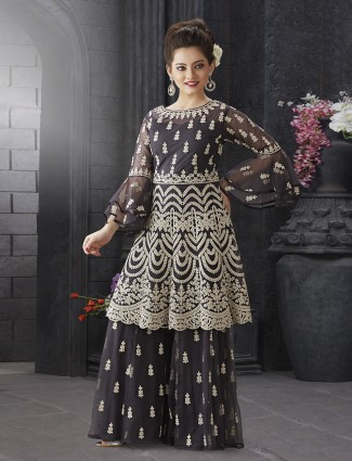 Dark grey net wedding punjabi sharara suit