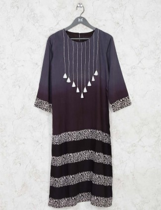 Dark grey printed cotton kurti