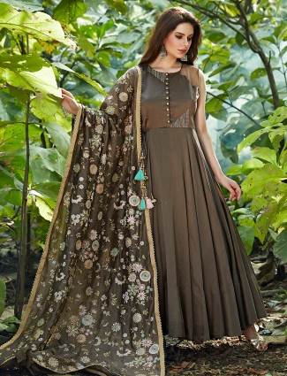 Dark grey silk anarkali suit for wedding fuction
