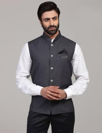 Dark grey solid cotton silk classy waistcoat