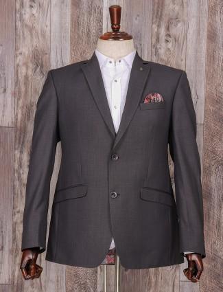 Dark grey terry rayon classy coat suit