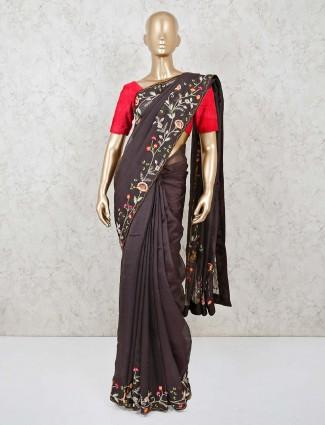 Dark grey tissue silk saree for the festival