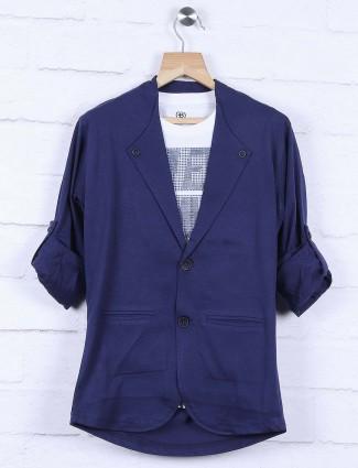 Dark navy colored cotton blazer