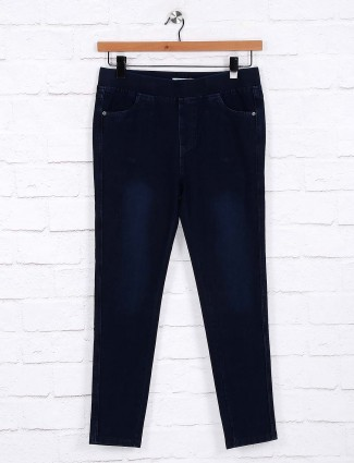 Dark navy cotton solid casual jeggings