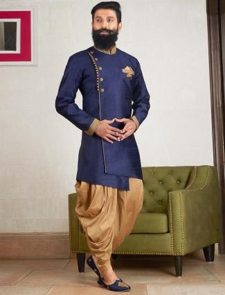 Dark navy hue party wear kurta suit in raw silk