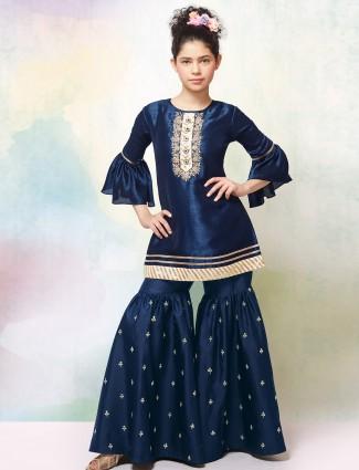 Dark navy hued raw silk fabric punjabi sharara suit