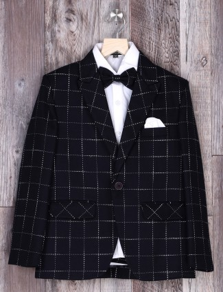 Dark navy checks coat suit