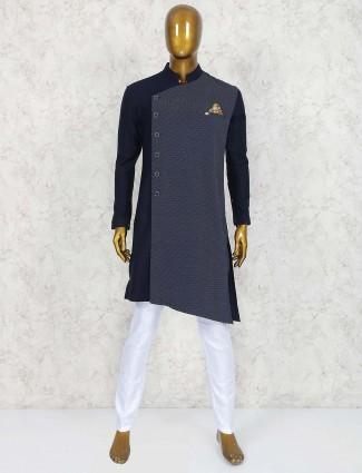 Dark navy printed terry rayon kurta suit