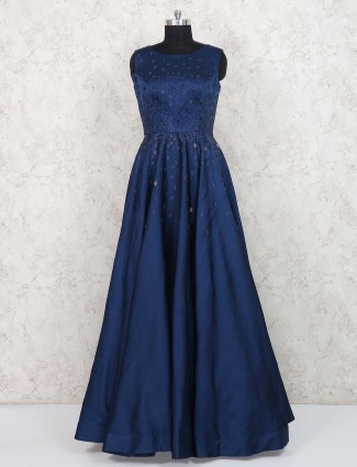 Dark navy silk fabric designer gown