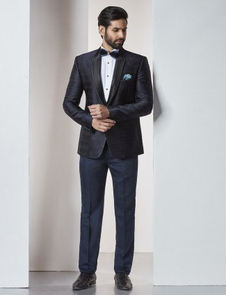 Dark navy tuxedo coat suit for party function
