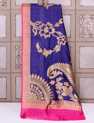 Dark purple color silk simple saree
