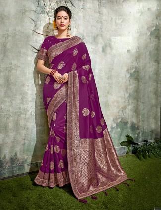 Dark purple semi silk festive saree