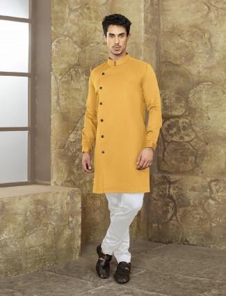 Dark yellow kurta suit in cotton