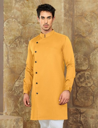 Dark yellow short pathani in cotton