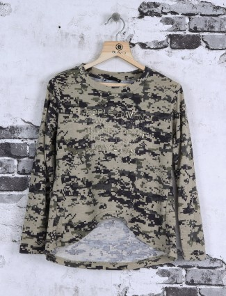 Deal beige printed cotton top