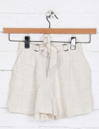 Deal beige simple cotton shorts