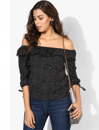 Deal black cotton casual fabric top