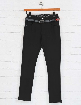 Deal black solid cotton pant