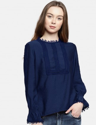 Deal blue cotton casual wear top