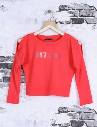 Deal bright peach color top