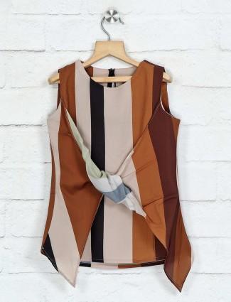 Deal brown stripe georgette top