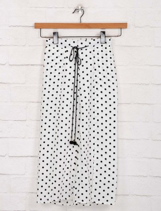 Deal casual outing polka dot printed white palazzo