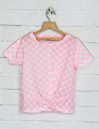 Deal casual pink checks top