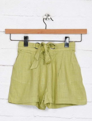 Deal green cotton casual shorts